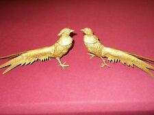 Vintage Pair of Brass Pheasants Birds Figurines 10 1/2 inch  Antique Male Female