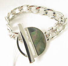 Kenneth Cole New York Silver Tone Black Mother of Pearl Chain Bracelet NEW