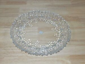 """PARTYLITE Hydrangea Pillar Tray P7717 10"""" platter scalloped pressed floral glass"""