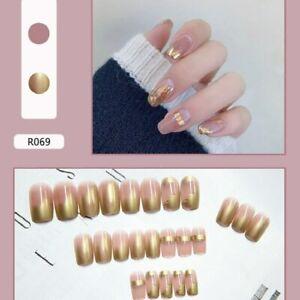 Naked Gold Foil Fake Nails Rectangular Full Fake Nails Diy Nail Decoration Trend
