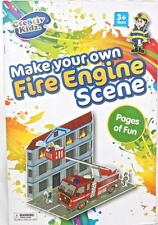 Make your Own Fire Engine Scene House Fire Truck Firemen Crane Cut Out Activity