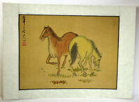 "14"" Antique Chinese Asian Signed Watercolor on Silk Grazing Brown White Horses"