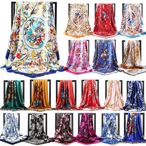 Large Silk Floral Head Square Scarf Satin Neck Wraps Vintage Bandana Shawl 90cm