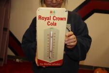 Vintage 1950's Royal Crown Cola Soda Pop Metal Thermometer Sign