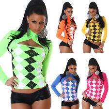 Sexy Damen Top Shirt Raute Karo Muster Pulli Pullover kariert Swatshirt Bolero