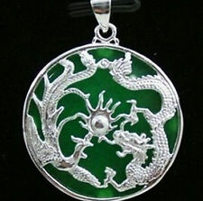 New Hot Beautiful Green Jade Silvered Dragon Phoenix Pendant and Chain Necklace