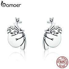 Bamoer Authentic S925 Sterling Silver Stud Earrings lovely sloth For Women Hot