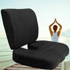 Orthopedic Comfort Memory Foam Coccyx Seat Pad + Back Support Lumbar Cushion Set