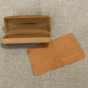 Tommy Bahama Eyeglass Sunglass Brown Woven Leather Hard Case With Cleaning Cloth
