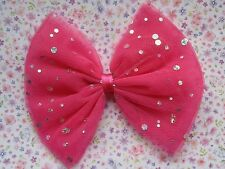NEW BIG OVERSIZED SPARKLE TULLE BOW HAIR CLIP 80s STYLE HEN PARTY FANCY DRESS