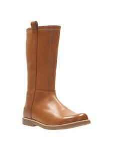 BNIB Clarks Tildy Grace Girls Tan Leather Boots F/G Fitting