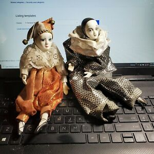 """Harlequin Dolls White Clown Jeweled Jester Pair Porcelain Bisque finis 9"""" OA2B18"""