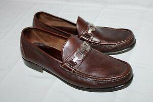 SALVATORE FERRAGAMO 8D GANCINI Brown Loafers Shoes