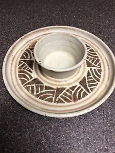 Vintage Rosenbloom pottery-stoneware-Chip n Dip Platter Brown & Tan