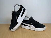 PUMA Carina Leather Suede Black Trainers Size UK 4 EUR 37