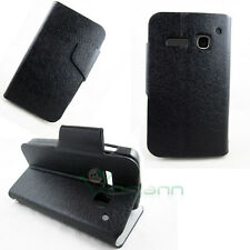 Custodia pelle FLIP LINGUETTA cover STAND Nero per Alcatel One Touch S Pop S'pop