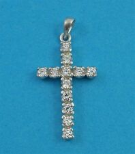 "Sterling Silver Cross with Clear Cubic Zirconia Crystals 18"" Silver Chain"
