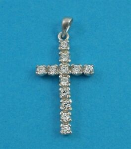 """925 Sterling Silver Cross Clear Cubic Zirconia Crystals 18"""" Silver Chain"""