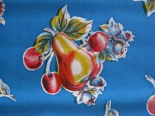 BLUE PEAR APPLE RETRO COUNTRY KITCHEN PATIO DINE OILCLOTH VINYL TABLECLOTH 48x96