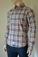 NUOVO Abercrombie & Fitch Owen POND Marrone Plaid Camicia CHECK L rrp £ 82