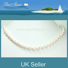 16 inch White Freshwater Pearl Necklace with Magnetic Clasp, 41cm