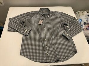 NWT $129.00 Peter Millar Mens Crown Ease Stretch Woodberry Gingham Shirt Gray XL