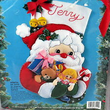 Bucilla Felt Christmas Stocking Kit ARMFUL OF TOYS Santa 1994 83112 New Sealed
