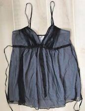 Victoria's Secret Black Mesh Overlay Chemise Negligee Lingerie Medium