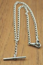 925 Sterling Silver Fob Chain with T-Bar for Pocket Watch Fine Mens Jewelry