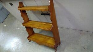 "Beautiful Vintage Handmade 3-Tier Wall Shelf  21"" x 7 1/8"" x 27"" tall maple"