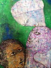 BELLA BRISEL (1929-1982), Original Oil on Canvas, Surreal Figures , Signed