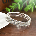 Elastic Crystal Rhinestone Bangle Wristband Bracelet Stretch Wedding Bridal Gift