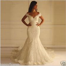 Vintage Sweetheart White/Ivory Mermaid Wedding Dresses Lace Bridal Gowns Custom