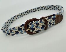 Honors Braided Rope Belt Leather Trim 616-0025 Blue White 28 30 32 Vtg USA