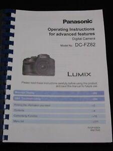 PANASONIC LUMIX FZ82 CAMERA PRINTED USER MANUAL GUIDE HANDBOOK 311 PAGES A5