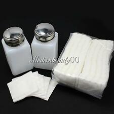 2 X Nail Art Pump Dispenser Polish Remover & 100pp Facial Cotton Pads Cleansing