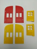 Vintage Lego Doors Red & Yellow Three Pairs No Frames - Pre-owned