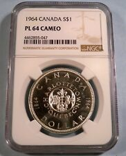 1964 CANADA SILVER DOLLAR S$1 NGC PL64 PROOF LIKE CAMEO