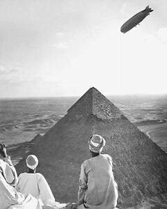 GRAF ZEPPELIN OVER PYRAMIDS OF GIZA, EGYPT 11x14 SILVER HALIDE PHOTO PRINT