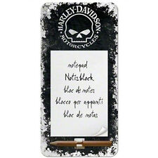 HARLEY DAVIDSON block notes +matita calamitato nero con teschio 20x10cm ufficial