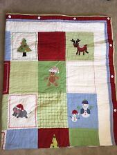 Pottery Barn Christmas Patchwork Twin Size Quilt Blanket Bedding & Pillow Sham