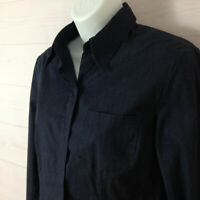 Express womens size 3/4 navy blue collared long sleeve stretch button up shirt