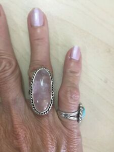 Sterling Silver 925 Long Pink Rose Quartz Band Ring - Size 7.5  11.37g