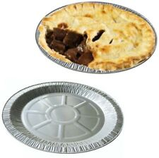 Large Aluminium Foil Dishes Steak Pie Round Plate 18mm Deep x 50 Fruit Baking