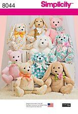 8044 STUFFED ANIMALS Sewing Pattern SIMPLICITY - Bear Dog & Rabbit toys