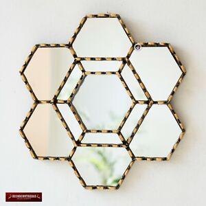 "Gold Hexagonal Wall Mirror 11.8"" from Peru, Gold Accent Mirror Wall Decorative"