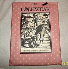 Folkwear Sewing Pattern Missouri River Boatsmans Shirt Uncut FF Unisex