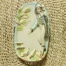 """Vintage Ceramic Wall Plaque 7 1/2"""" From Chase, A Young Man (From Occupied Japan)"""