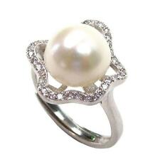 10-11mm Genuine AAA Cultured White Pearl 2.84g 925 Sterling Silver Ring