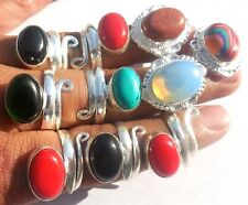 MIX GEMS WHOLESALE LOT 10PC! 925 STERLING SILVER OVERLAY RING ONLINE SALE JEWELS